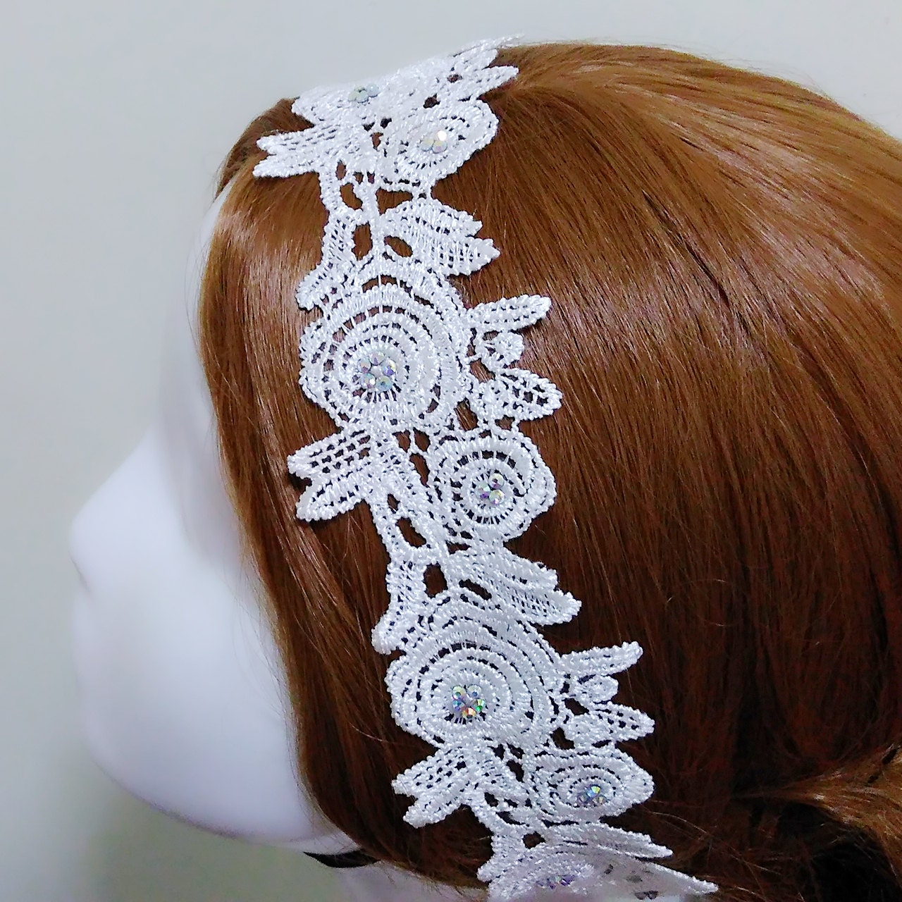 White Floral Headpiece Rhinestone Headpiece Lace Bridal Hairpiece