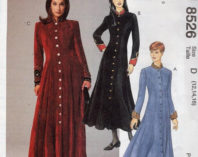 Free Us Ship Sewing Pattern McCall's 8526 Retro 1990s 1996 Princess Seams Coatdress Dress Uncut Size 10 12 14 (Last size left)