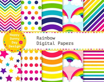40% off Rainbow /  Rainbow Digital Papers - Instant Download - D006
