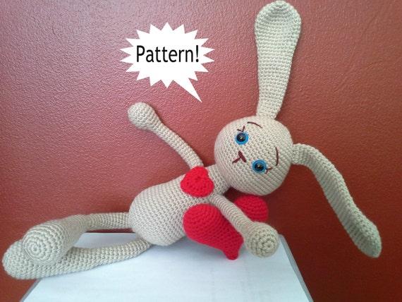 Crochet Pattern Amigurumi Turtle Crochet Keychain : PATTERN Bunny Crochet Bunny Amigurumi Heart Pattern by ...