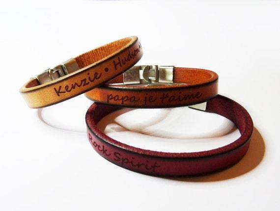 men gift personalized engraved leather bracelet customized