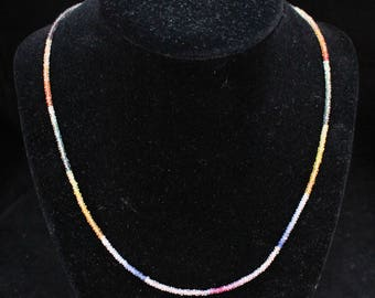 """Estate 14K Yellow Gold Multicolor Sapphire Rondelle Bead Necklace 18.75"""" Long 6.78 Grams Mother's Day"""