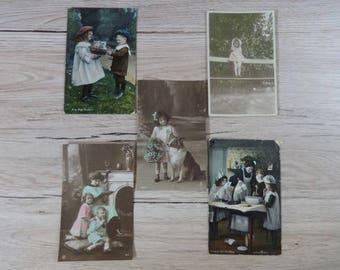 5x Antique Hand painted Tinted postcards children toddler card