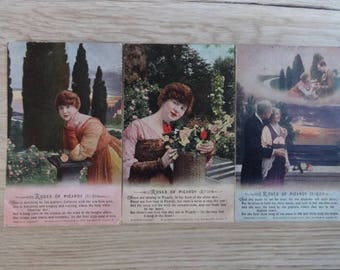 3x Antique Roses of Picardy set of 3 cards Photo hand painted Tinted Postcards Postcard