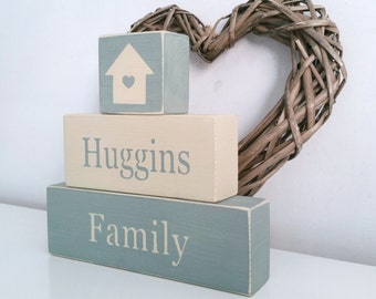 Personalised Family, stacking blocks Shabby Chic, painted in Annie Sloan