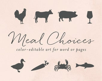 RSVP Meal Choice Icons for Word or Pages, Chicken, Cow, Pig, Wine, Duck, Carrot, Crab, Fish | Color Editable | INSTANT DOWNLOAD