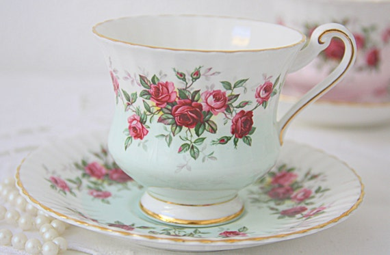 Vintage Paragon Bone China Gentleman Size Cup and Saucer, White and Pastel Green, Red and Pink Roses Decor, England, Numbered