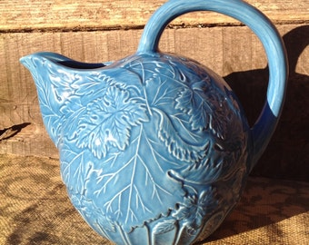 The Haldon Group- Haldon Group Pitcher-Embossed Leaf Design- Haldon Group Made in Japan- Blue Pitcher- Blue Embosed Pitcher