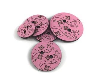Pink Floral/Laser Engraved/Wood Button/Handmade Button/Unique Button