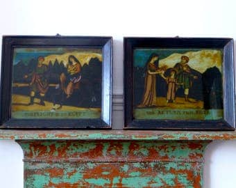 Two Antique Reverse Prints on Glass 'The Flight in to Egypt' and 'The Return From Egypt' after W B Walker C.1812