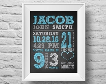 BABY BOY STATS One Little Miracle unframed chalkboard Typographic poster, inspirational, baby nursery wall decor, art print. (R&R0155a)