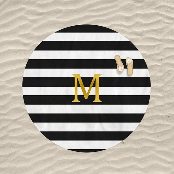 Monogram Round Beach Towel Black White Gold Striped