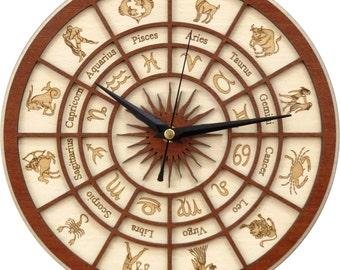 Zodiac Clock in wood