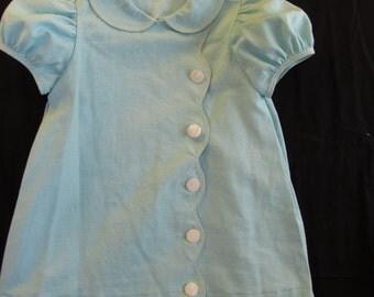 Aqua Linen Easter Dress Size 1