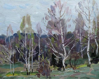 SPRING FOREST LANDSCAPE Vintage Original Oil Painting by Soviet Ukrainian artist M.Borymchuk 1984 Woodland scenery, Birch Grove, Old picture