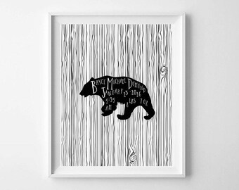 Personalized Woodland Nursery Print, Printable Art, Black and White Nursery Decor, Bear Nursery Printable, Baby Gift Ideas, Kids Room Decor