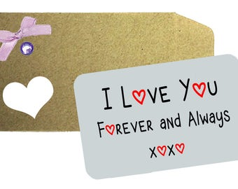 I Love you forever and Always Wallet XOXO Love Note - Printed Aluminium Note,  Love Note, Wallet Note, Wife, Husband, Anniversary Gift