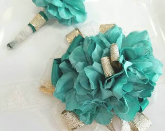 Light Teal and Gold Prom Corsage with Matching Boutonniere Teal Wrist Corsage Ready to Ship ON SALE