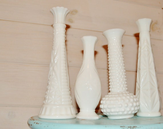 Set Of 4 Vintage Milkglass Bud Vases DIY Wedding Table Decor