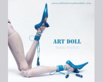 "BJD ballerina Shoes with laces for ooak art doll ""Mercedes""  / blue color"
