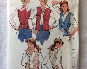 Vintage UNCUT New Butterick 6185 Misses Size 12 Vest Pattern