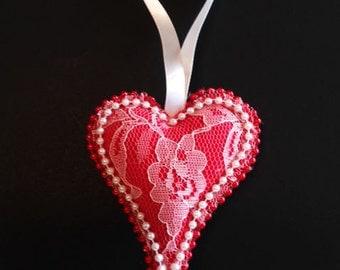 Valentine Heart Ornament,Valentine Gift, Valentine Heart, Valentine Sweetheart Gift, Valentine Felt Ornament, Handmade Ornament  CTO156