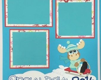 Snow Day Winter Moose premade Scrapbook page