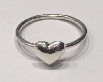 Puff Heart Stacker Ring - Silver