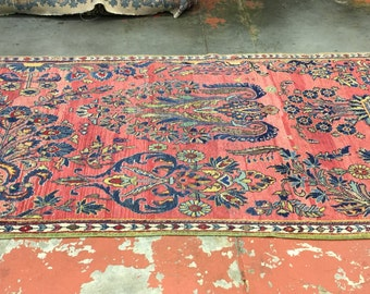 Antique Persian Sarouk Rug 4.5x10 Amazing One of a Kind  c.1930