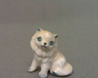 White Cat with Blue Ears Eyes and Features miniature Cat Figurine