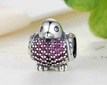 Sterling 925 silver charm the bird bead pendant fits Pandora charm and European charm bracelet