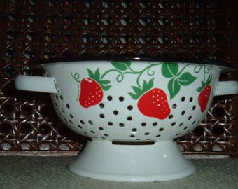 Strawberry Enamel Colander Strainer~ Fruit Bowl