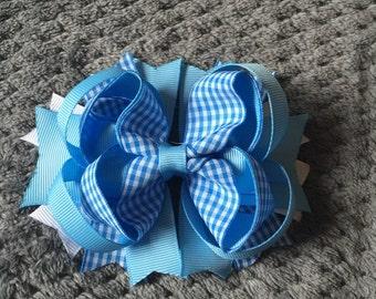 Blue Grosgrain School Stacked Hair Bow