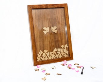 Wedding Guest book alternative,Dove Dropbox,Lucky Horseshoe Drop Top Guestbook,Personalised Wooden Wedding Frame,Guestbook