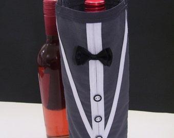 TUXEDO WINE BAGS - grey wine bags - tuxedo wine gift bags - tuxedo bags - wine gift bags - wedding wine bags - tuxedo wine bottle bags