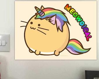 Meowgical unicornio gato imprimir Catcorn Kittycorn arco iris Fuzzballs pared dormitorio Arte ilustración oficial Kawaii lindo regalo Idea presentarla