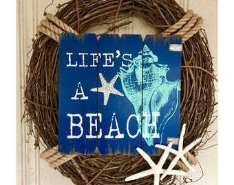 Summer Beach Wreath, Beach Wreath, Coastal Wreath, Nautical Wreath, Beach Decor, Coastal Decor, Nautical Decor, Summer Wreath