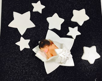 """Extra Large Fondant Baby Cake Topper.  """"A Star is Born!"""" 8 pieces. Made to order, Pearl Finish or customize your colors hor FREE!"""