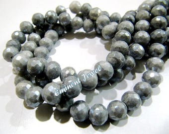 Exclusive AB Coated Grey Silverite Beads , Faceted Ball Shape 8mm Size Gemstone Beads , Mystic Coated Silverite Beads , Length 8 inches long