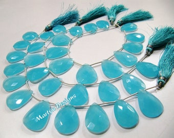AAA Quality Aqua blue Chalcedony Briolette Beads/Pear Shape Top Drilled Beads Size 16x22mm to18x25mm/Hydro Quartz Faceted Beads/8inch Strand