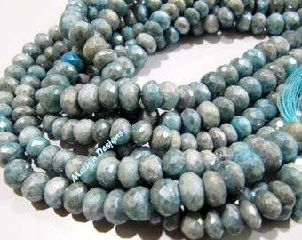 Exclusive Quality Beautiful Aquamarine AB Coated Beads , Mystic Coated Aquamarine Beads 7 to 9mm , Strand 14 inch , Rondelle Faceted Beads.