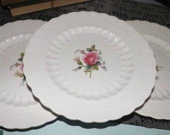 SET of 3 Spode Billingsley Rose | Spode's Jewel salad plates. 1930s red hallmark and impressed mark.