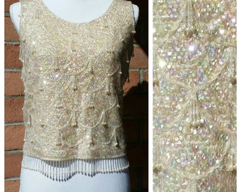 1960's Cream Color Beaded Sequin Sweater Tank. Women's Size L, Made in Hong Kong, Dangle beads,Pearls,Sequins, VLV,  Wedding, New Year's Eve