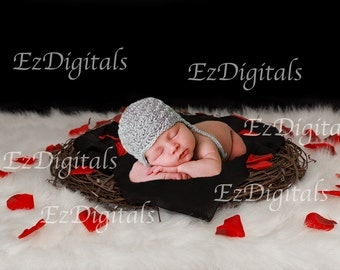 Newborn digital backdrop, Valentine backdrop, Digital download, elegant black red and white, newborn baby floral nest backdrop,