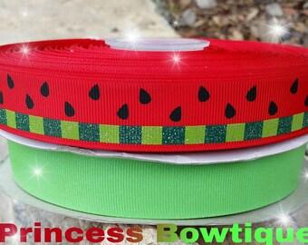 Watermelon ribbon, watermelon resins, summer ribbon, ribbon crafts, watermelon