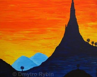 Mountains and sky. Orange sunset. Energy painting. Acrylic painting.