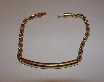 14 kt Gold ID Rope Bracelet