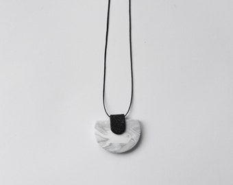 Black and white polymer clay necklace. Minimal, sophisticated jewelry. One of a kind accessory.