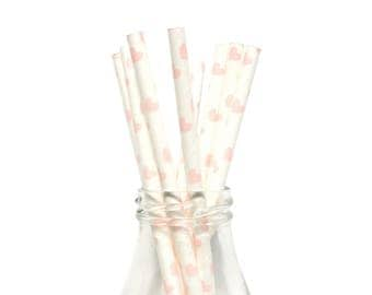 25 Light Pink Heart Paper Straws, White and Light Pink Heart Straws, Pink Paper Straws, Light Pink Party Straws, Pink Party Straws.