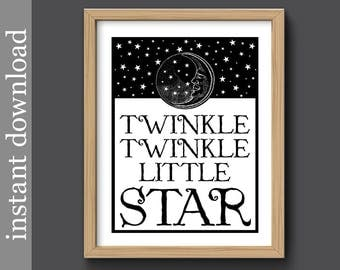 Twinkle Little Star, nursery printable, baby decor, nursery wall art, black white nursery, children art, moon and stars, baby download